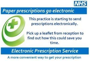 Paper prescriptions go electronic This practice is starting to send prescriptions electronically. Pick up a leaflet from reception to find out how this could save you time. Electronic Prescription Service a more convenient way to get your prescription.